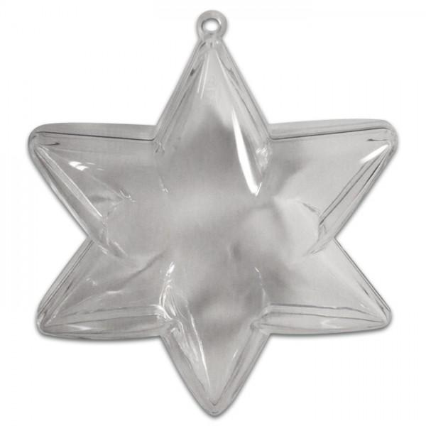 Kunststoff-Stern glasklar Ø 100mm 2 Halbschalen zum Zusammenstecken