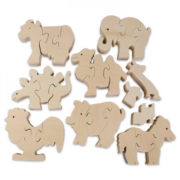 Puzzle mit Tiermotiven Holz 9-10,5cm 8 Motive/St. 2,2cm stark, natur