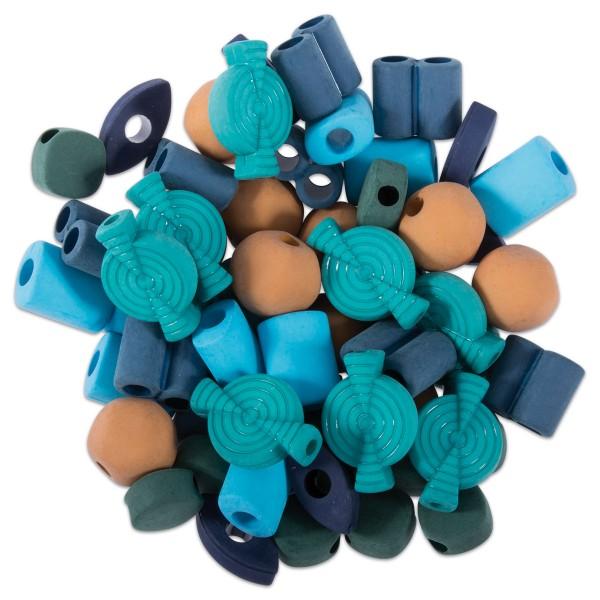 Kunststoffperlen-Mix 12-23mm 60 St. Grün-/Blautöne matt ca. 60g, Lochgr. ca. 3-5mm