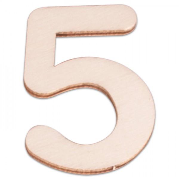 Holzzahl 5 ca. 3mm 6cm hoch natur
