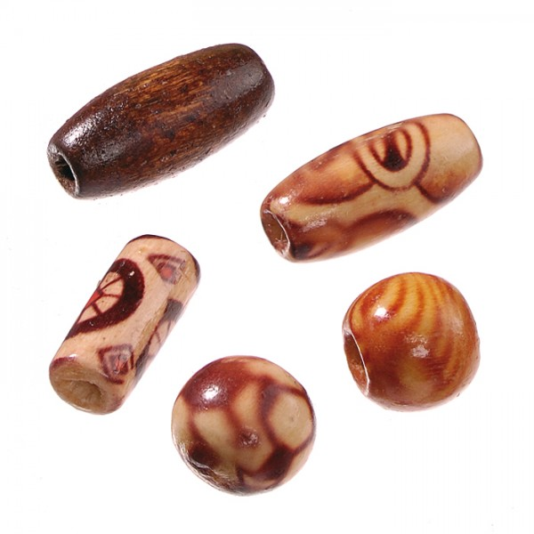 Indio-Holzperlen olive 15x7mm 60 St. braun gem. Lochgr. ca. 1,5-2mm