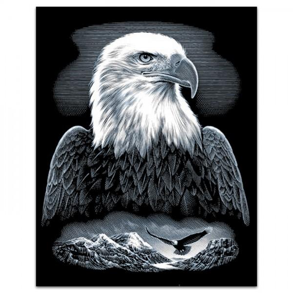 Kratzbild silber 25x20cm Adler