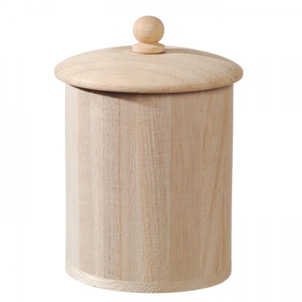 Runddose mit Deckel Holz Ø 7,2x8cm natur 10cm hoch mit Deckel