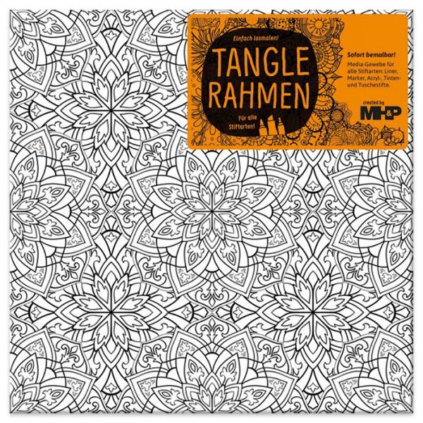 Tangle-Keilrahmen 20x20x2cm Blütenmandala