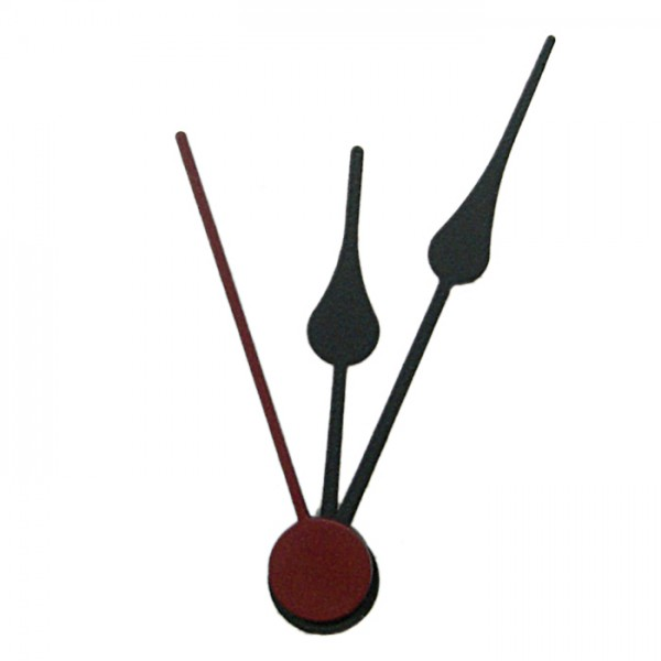 Uhrzeiger Metall 41/31mm schwarz Herzform mit Sekundenzeiger