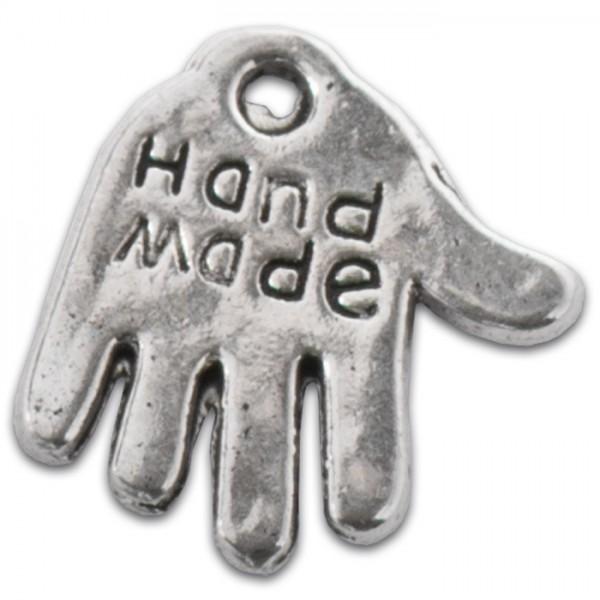 Metallanhänger Hand Made 11mm 50 St. platinf. Lochgr. ca. 1mm