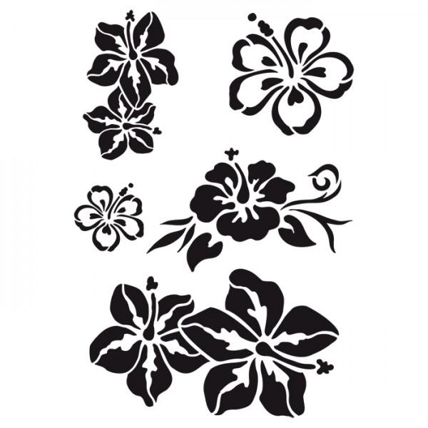 Universal-Schablone DIN A4 karibische Blüten Kunststoff