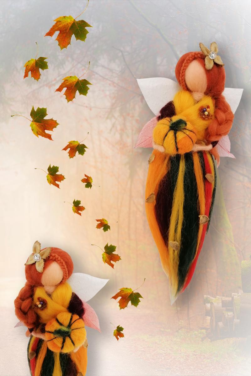 Zauberhafte Herbstfee aus Filz