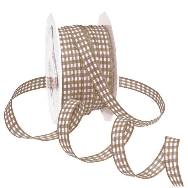 Vichyband/Zierband 1cm 20m taupe/weiß 100% Polyester