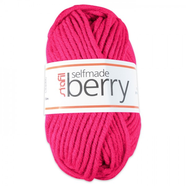 Wolle Berry 6-7mm 50g neon-fuchsia 70% Polyacryl, 30% Wolle