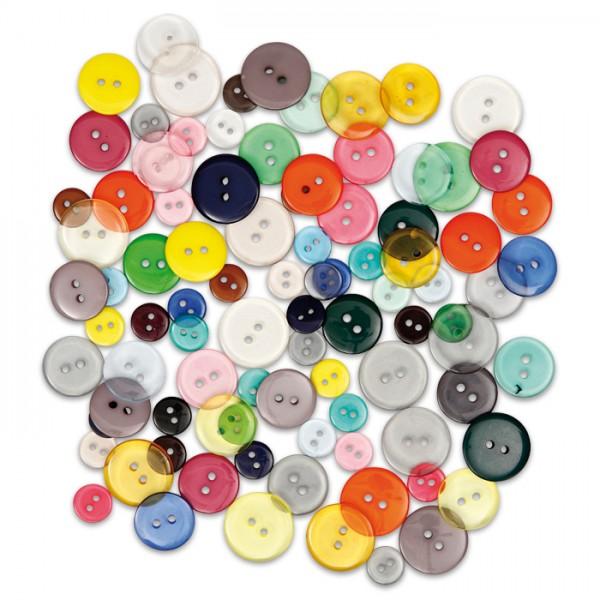 Knöpfe-Mix 2 Löcher 12/18/20mm 100 St. bunt Kunststoff, transparent&satt