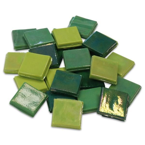 Eis Glas opak 15x15x4mm 1kg grün mix ca. 500 St.
