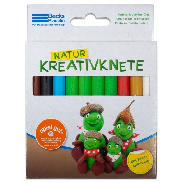 Natur-Kreativknete ca. 150g 10 Stangen/7 Farben ohne Konservierungsstoffe