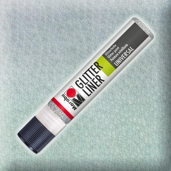 Marabu Glitter Liner 25ml silber universelle Effektfarbe