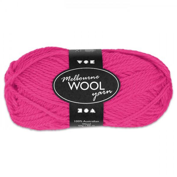 Garn Melbourne Filzwolle 50g neonpink 100% Wolle, LL 92m, Nadel Nr. 4
