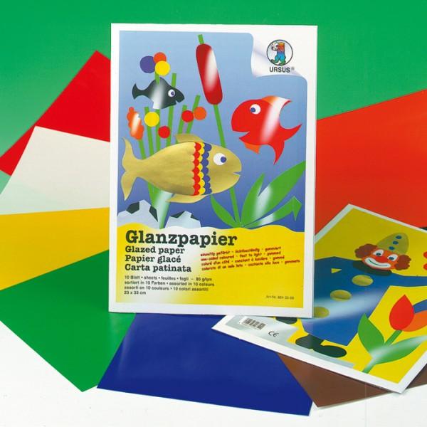 Glanzpapier ungummiert 35x50cm 20 Bl. 80g/m², 10 Farben