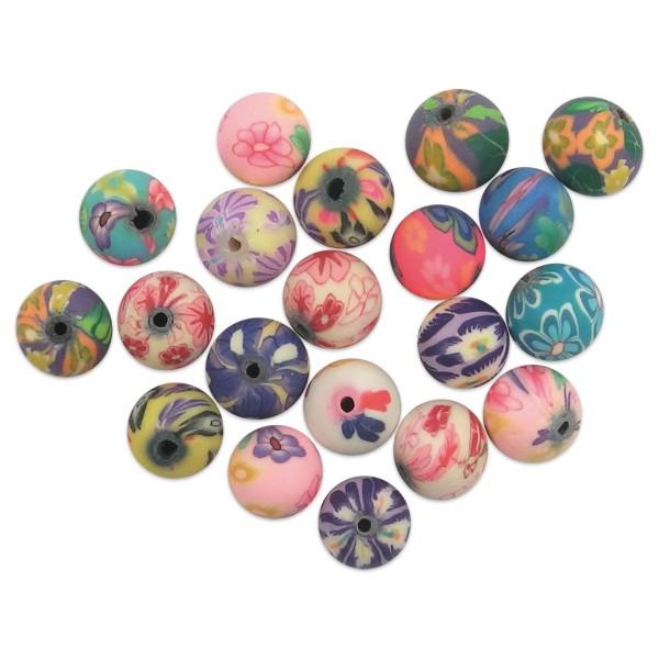 Fimo-Perlen Blumen Mix Ø 10mm rund 30 St. Lochgröße 1,2mm