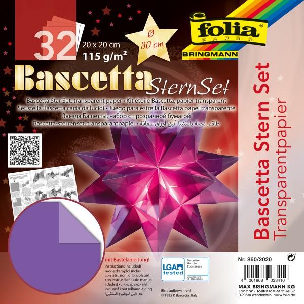 Bascetta-Stern ca. Ø 30cm 32 Bl. violett 20x20cm, Transparentpapier, 115g/m²