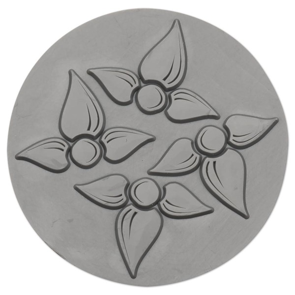 Reliefeinlage Blüte Ø 60mm rund Kunststoff, für Seifengießformen Art.-Nr. 54960435