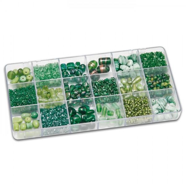 Schmuckbox groß Glasperlen 3-16mm 200g grün Lochgr. ca. 0,7-1,5mm