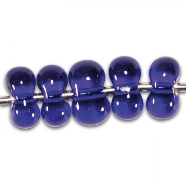 Farfalle transp. Silbereinzug 6,5mm 17g safirblau Glas, Lochgr. ca. 1mm