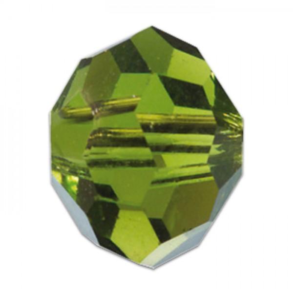 Facettenschliffperlen 8mm 20 St. olivin transparent, feuerpoliert, Glas, Lochgr. ca. 1mm