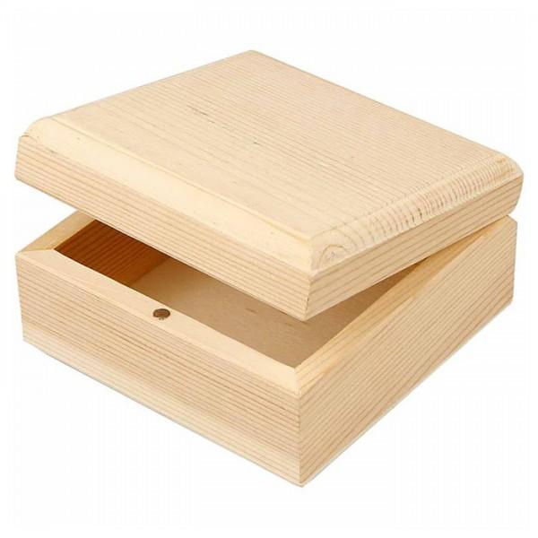 Holzkästchen Magnetverschluss h5cm 9x9cm natur