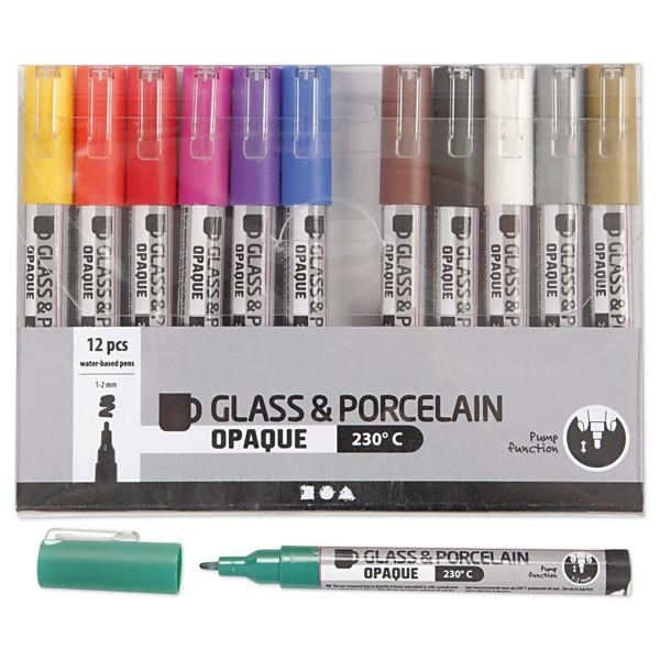 Glas- & Porcelainmalstifte 12St./Farben Strichbreite 1-2mm