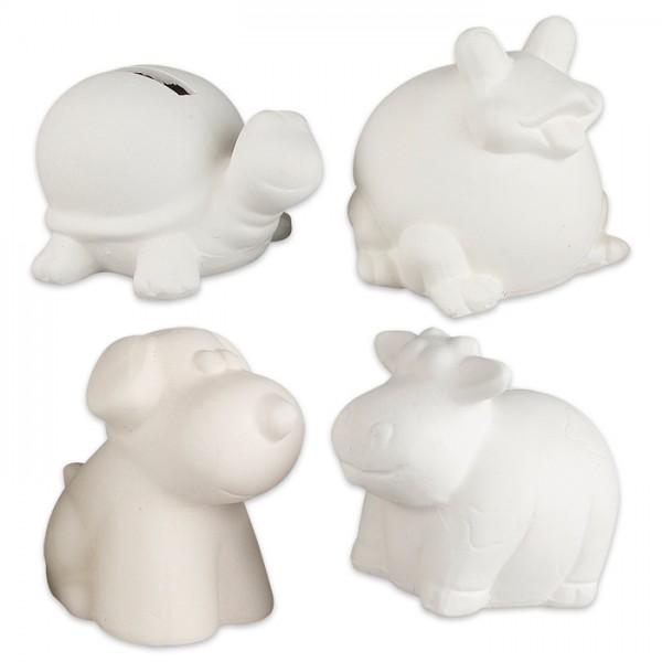 Spardosen Tiere ca. 7-10cm hoch 4er-Set weiß Terrakotta, Kuh, Hund, Frosch, Schildkröte