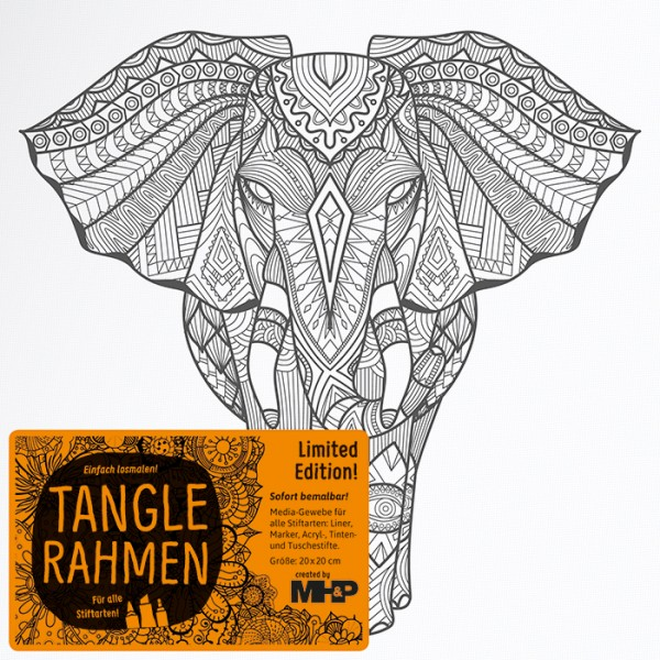 Tangle-Keilrahmen 20x20x2cm Elefant Afrika