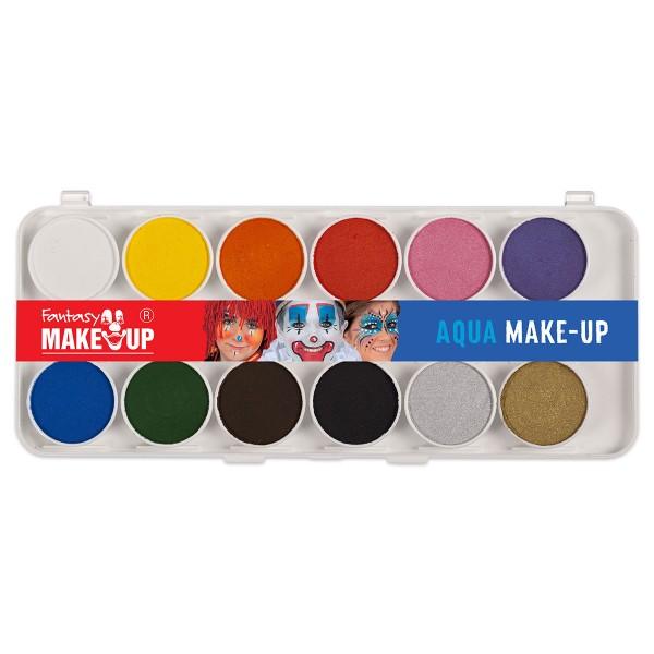 Fantasy Aqua Make-up Schminkkasten 12 Farben, 2 Pinsel