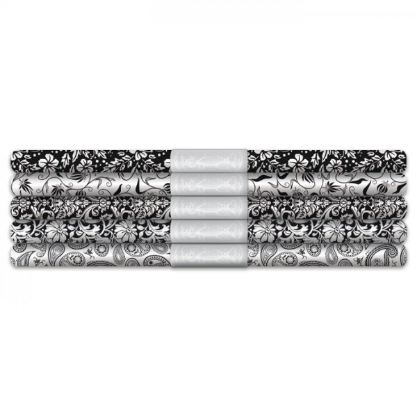 Transparentpapier-Set Black&White 5 Rollen/Motive, 115g/m², 50x61cm