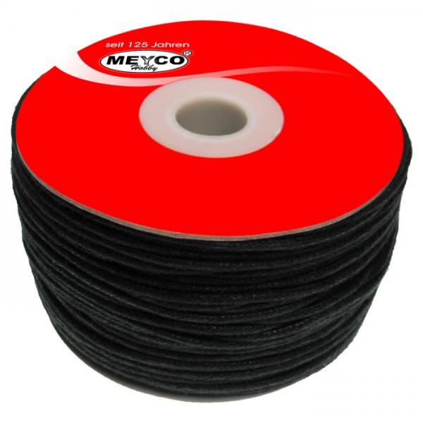 Baumwollschnur lüstriert 1mm 150m schwarz 100% Baumwolle
