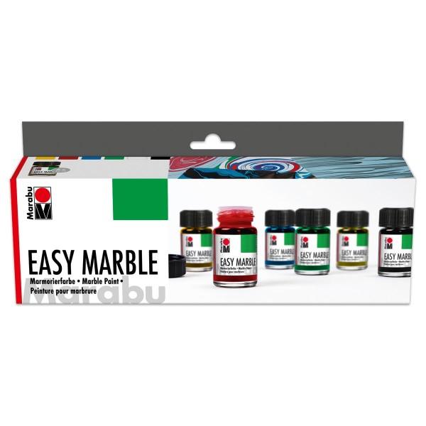 Easy Marble Starterset 6 Farben à 15ml Marmorierfarbe, mit Anleitung