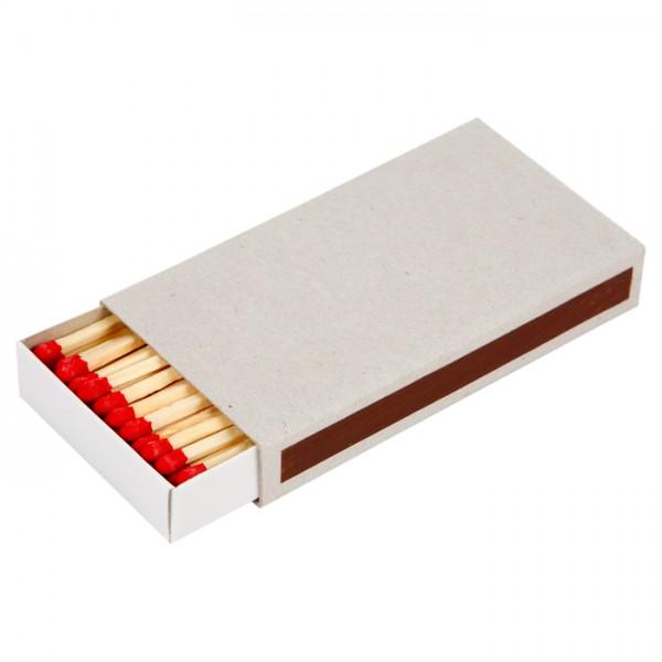 Streichholzschachtel Karton 110x60x18mm weiß mit Reibfläche, inkl. Streichhölzer