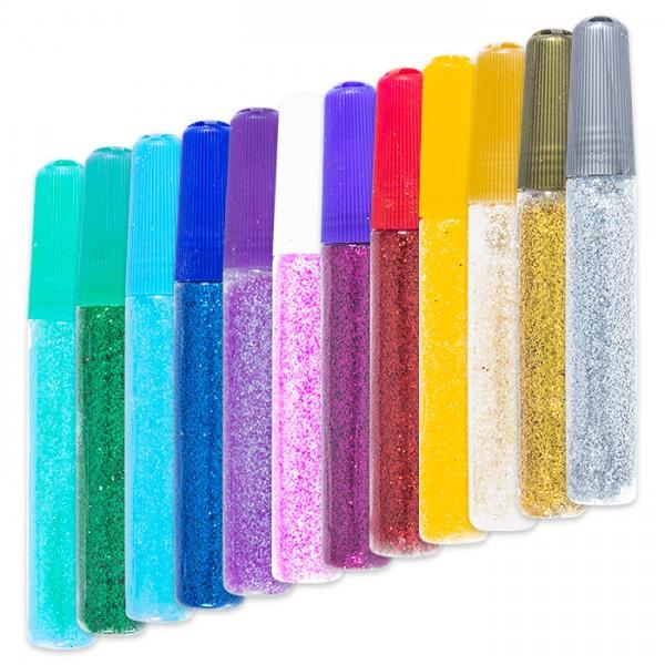 Glitzerfarbe/Glitzerkleber 12 Farben à 10ml mit Dosierspitze