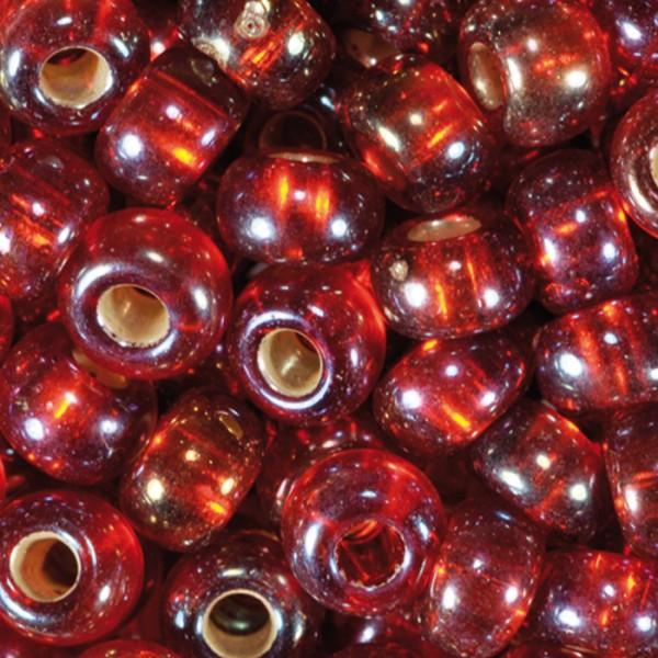 Rocailles Silbereinzug AB 4,5mm 17g rot Glas, Lochgr. ca. 1mm