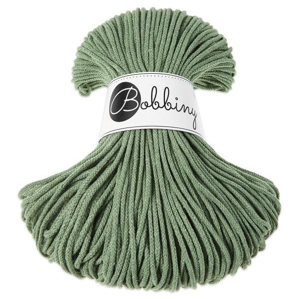 Bobbiny Rope-Garn Junior Ø3mm eucalyptus green ca. 200g-300g, 100% Baumwolle, LL 100m, Nadel Nr. 8-1