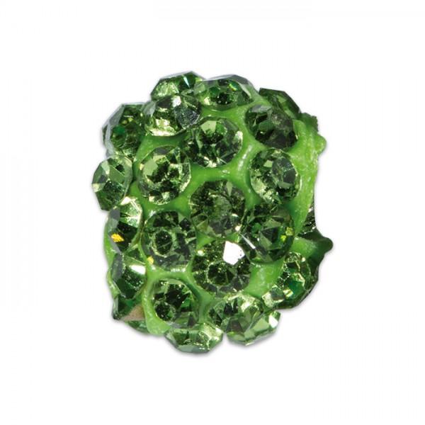 Strass-Kugel/Strassperle 10mm peridot Kunststoff/Glas, Lochgröße ca. 1,3mm