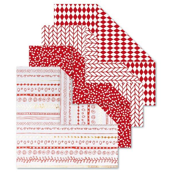 Faltblätter Origami-Papier 15x15cm 40 Bl. rot 80g/m², 4 Designs
