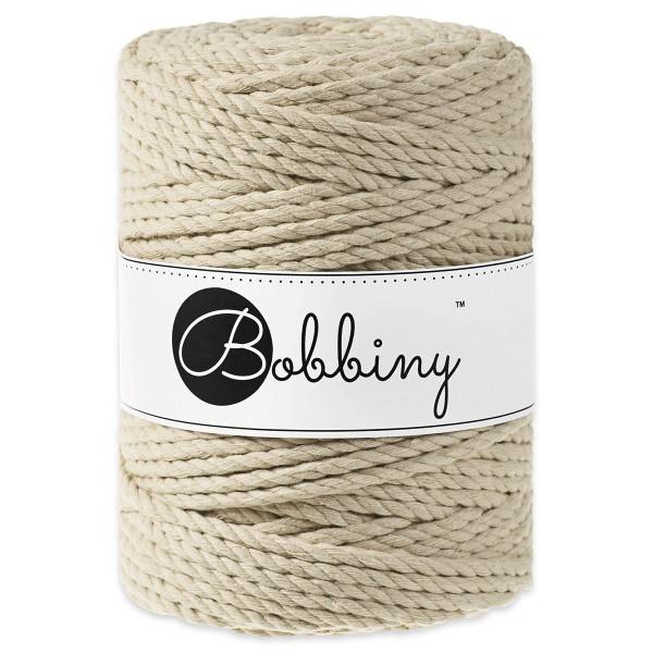 Bobbiny 3PLY Makramee-Kordel Ø5mm beige ca. 700g-800g, 100% Baumwolle, LL 100m, 3x60 Fasern