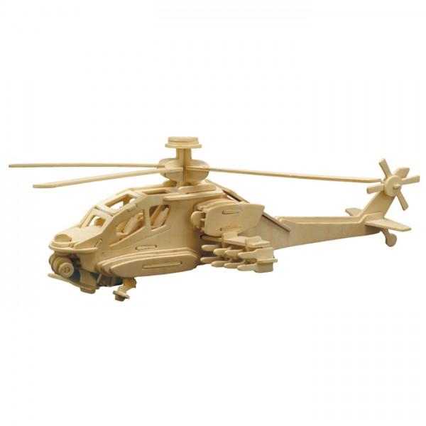 Holzbausatz Apache Hubschrauber 40x13cm 86 Teile vorgestanzt, zum Zusammenstecken