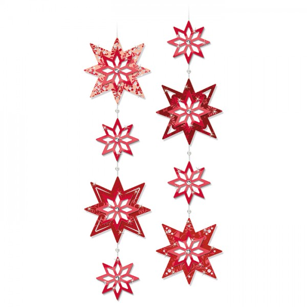 3D-Papier-Sterne Ø 11&6,1cm 16 St. rot 2x8 St., inkl. Zubhör