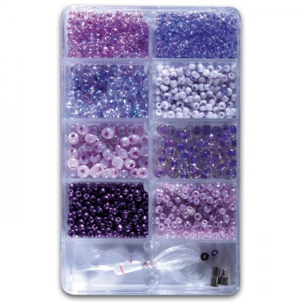 Glasperlen Rocailles/Stiftperlen ca. 30g lilaton 2,5-6mm, Glas, Zubehör, Lochgr. ca. 0,7-1mm
