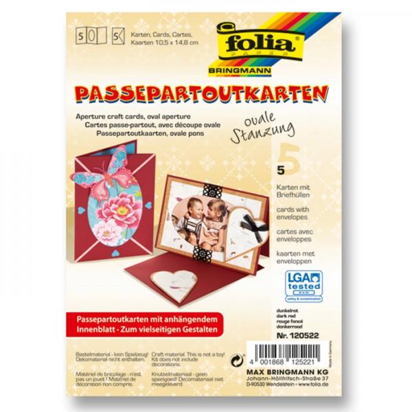 Passepartoutkarten DIN A6 5 St. oval dunkelrot inkl. Kuvert&Einlegeblatt, 220g/m²