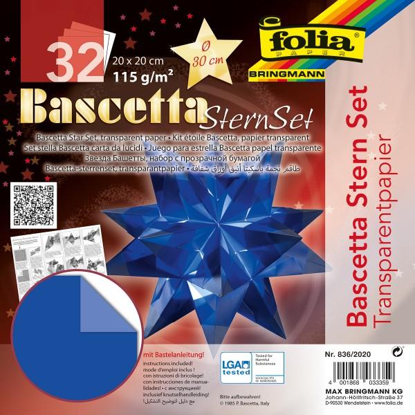 Bascetta-Stern ca. Ø 30cm 32 Bl. blau 20x20cm, Transparentpapier, 115g/m²