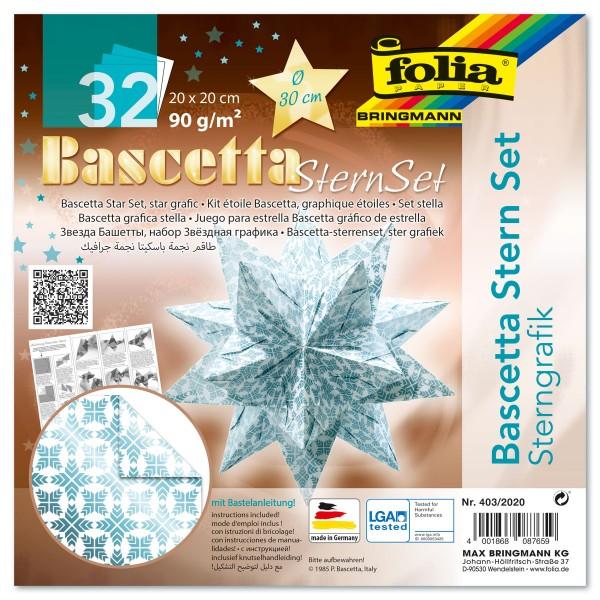 Bascetta-Stern ca. Ø 30cm 32 Bl. weiß/eisblau Sternengrafik 20x20cm, 90g/m²