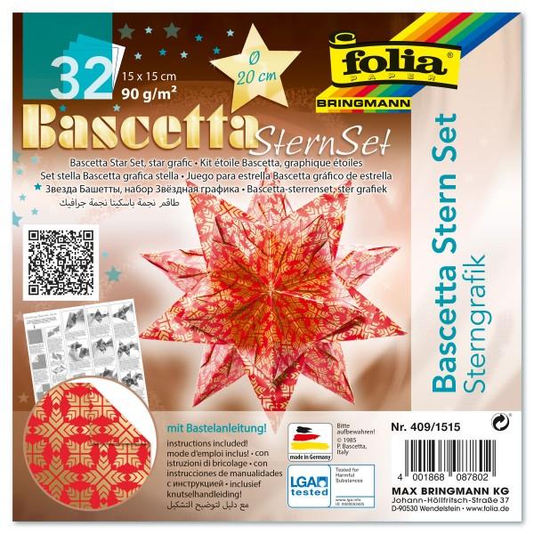 Bascetta-Stern ca. Ø 20cm 32 Bl. rot/gold Sternengrafik 15x15cm, 90g/m²
