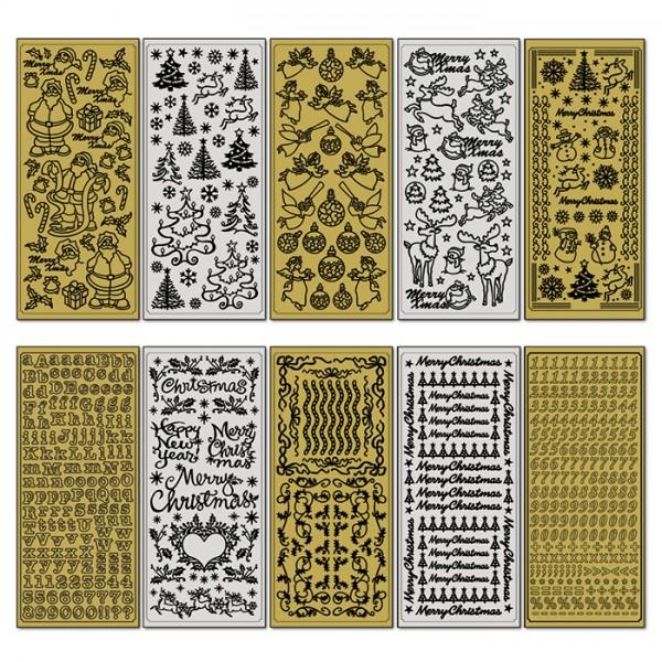 Reliefsticker Weihnachten 10 Bl. gold- & silberf. Bogen à 24x10cm