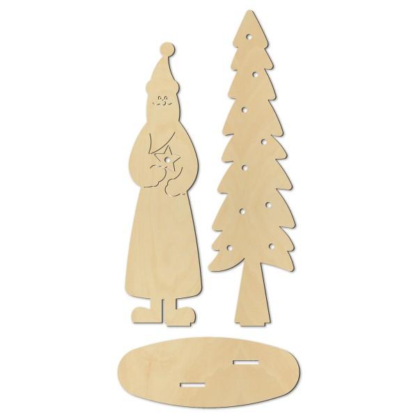 Stehfigur Weihnachtsmann mit Tanne Holz 6mm natur ca. 52 und 58cm hoch, für 10er Lichterkette